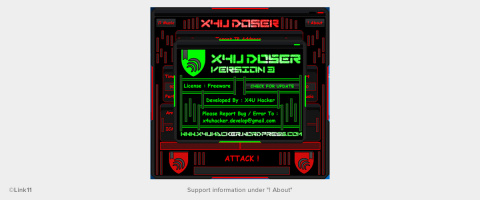 User interface of the DDoS tool X4U Doser
