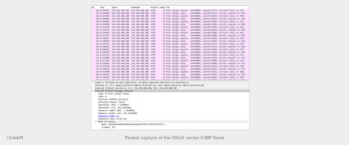 Packet capture of the DDoS vector ICMP flood